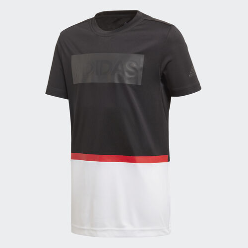 adidas - Training Colorblocked Tee Black / White / Vivid Red DJ1164
