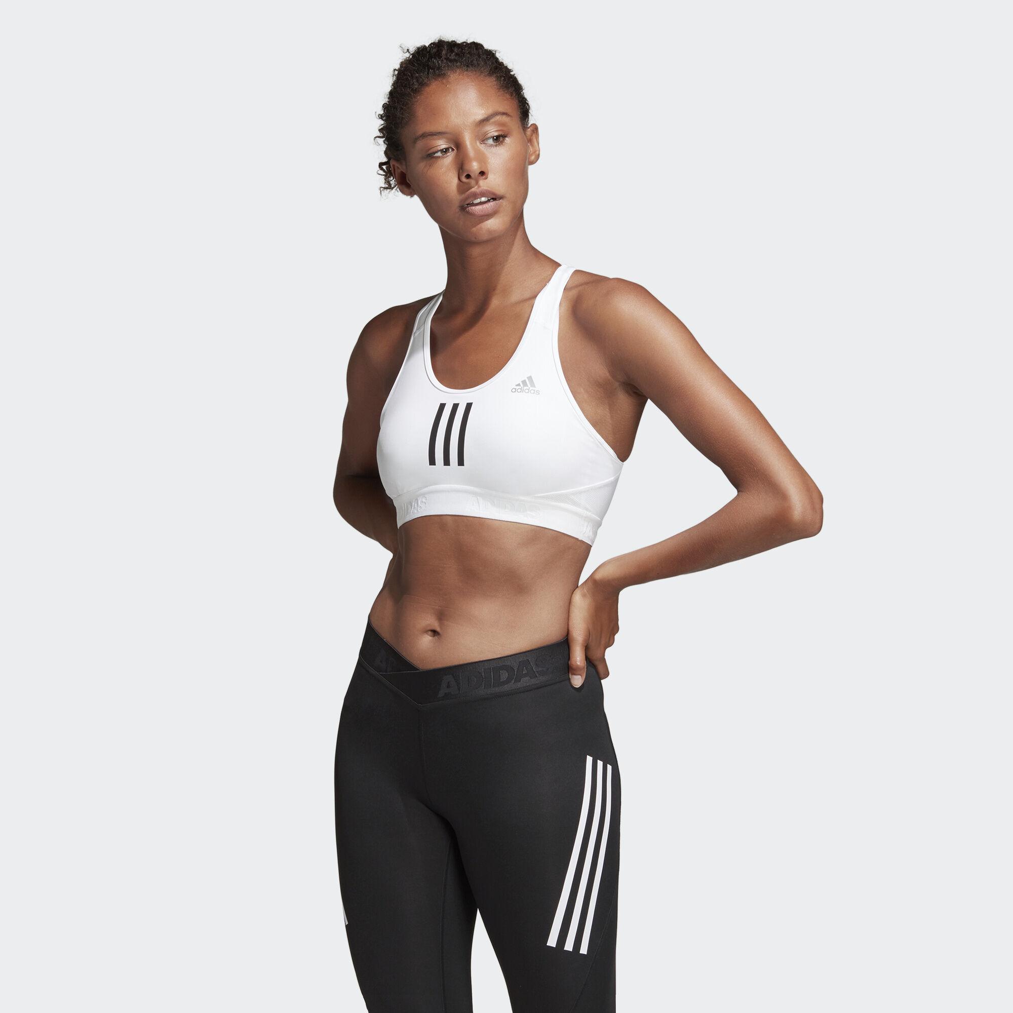 ec9647f7d4 adidas - Don t Rest Alphaskin Sport+ Padded 3-Stripes Bra White DT4027