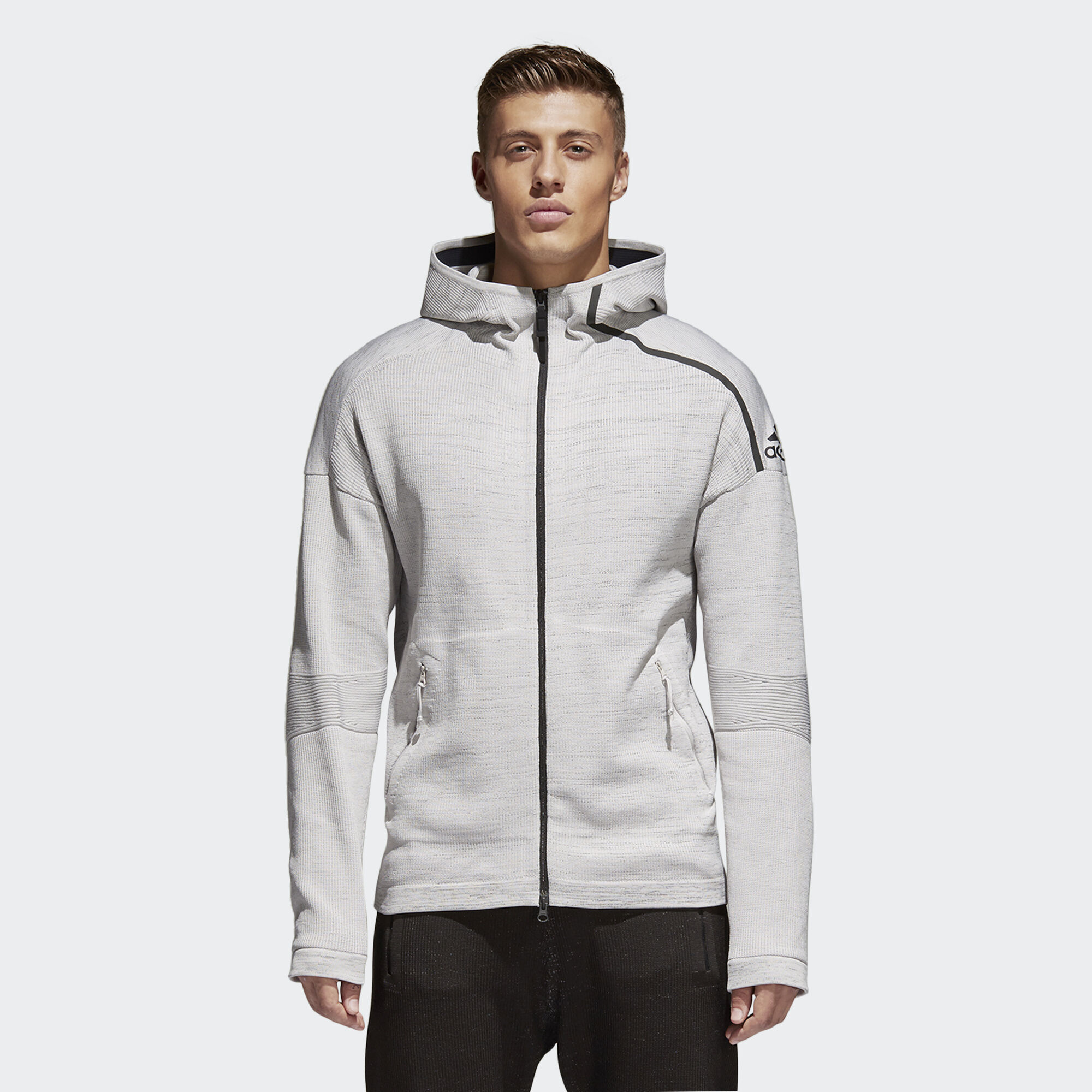 adidas - adidas Z.N.E. Primeknit Hoodie Grey/Chalk Pearl/Black CF0636. Men  Athletics