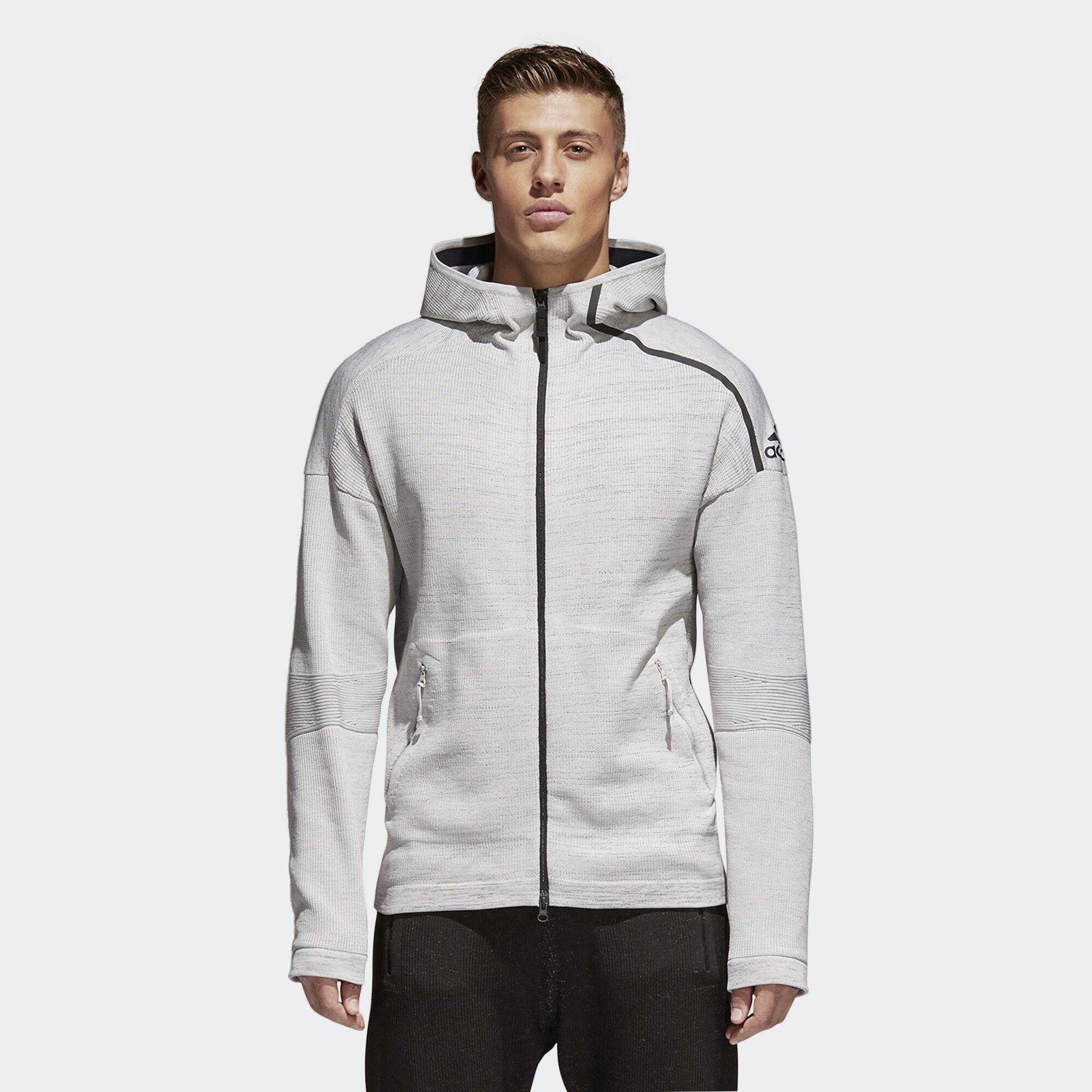 adidas - adidas Z.N.E. Primeknit Hoodie Grey Chalk Pearl Black CF0636. Men  Athletics d704ec9fdb