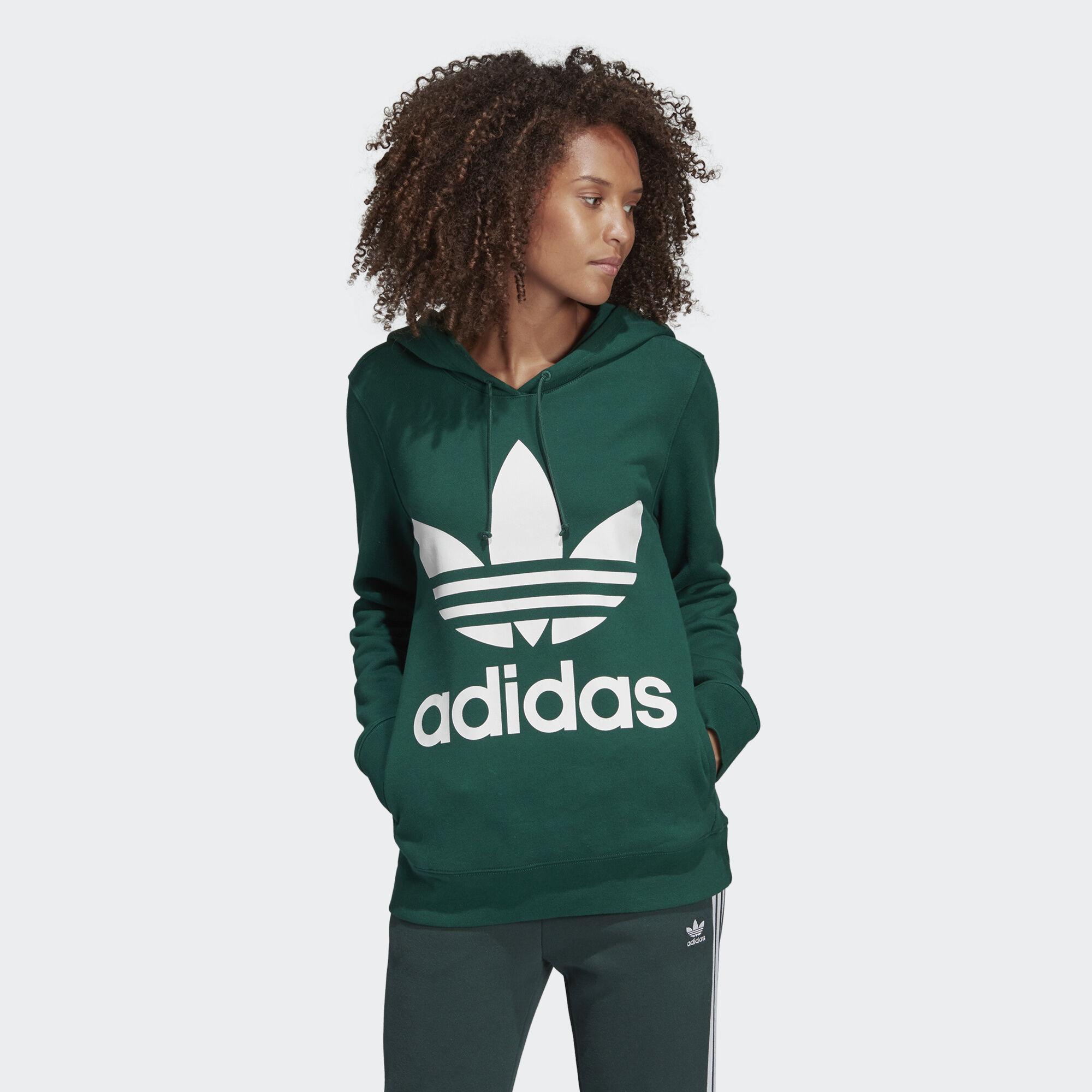 adidas Originals TREFOIL HOODY - Jersey con capucha - dark green WLhVpMVN