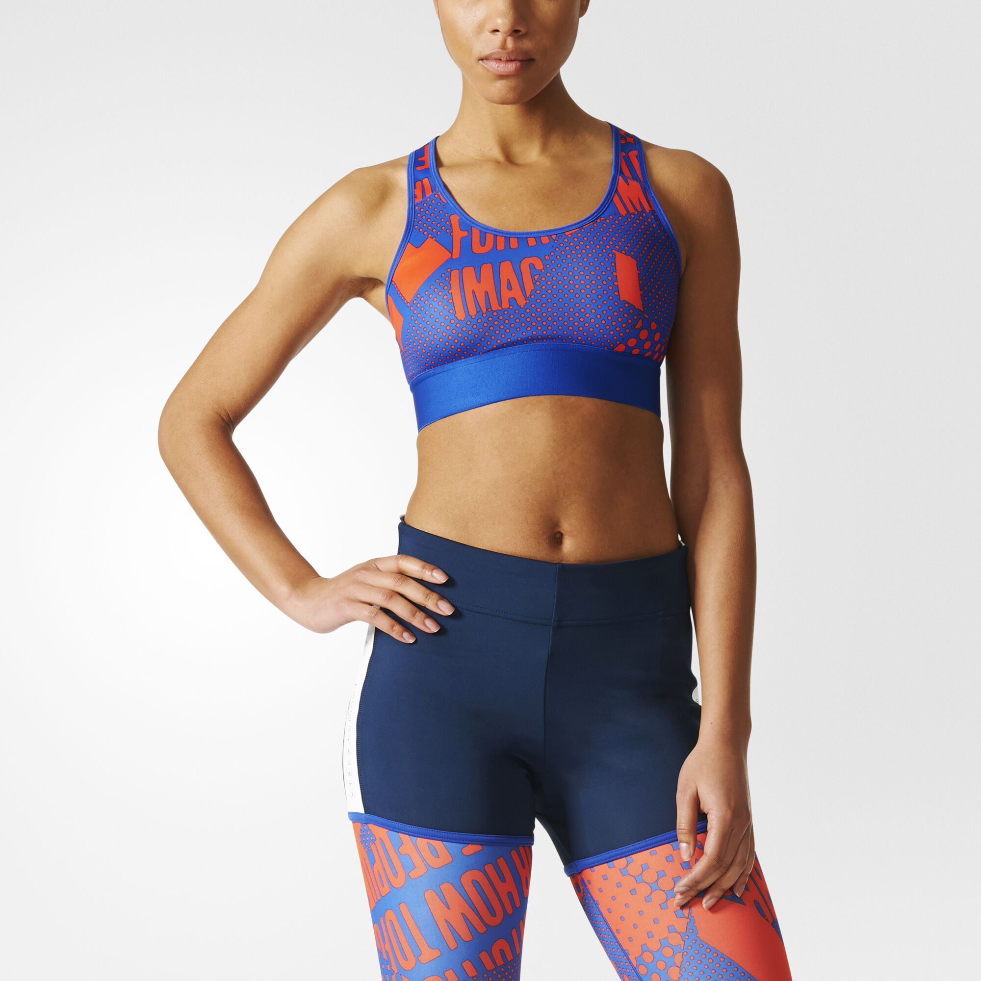 Discount Latest Stella Sport Medium Support Bra - Bold blue/solar red adidas 100% Authentic Sale Online Comfortable Cheap Price 6vHw0A