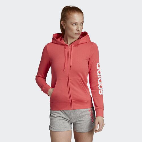 adidas - Essentials Linear Hoodie Prism Pink / White DU0652