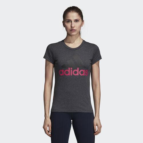 adidas - Essentials Linear Slim Tee Dark Grey Heather / Real Magenta CZ5769