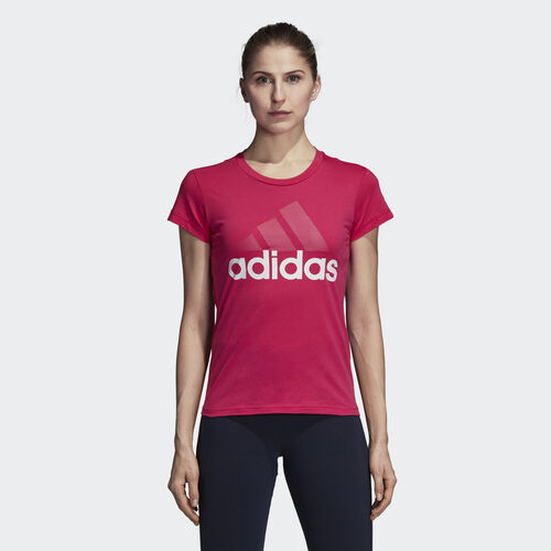 adidas - Essentials Linear Slim Tee Real Magenta / White CZ5773