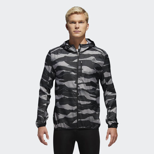 adidas - Own the Run Graphic Wind Jacket Grey Three / Black / Grey Six DQ2545