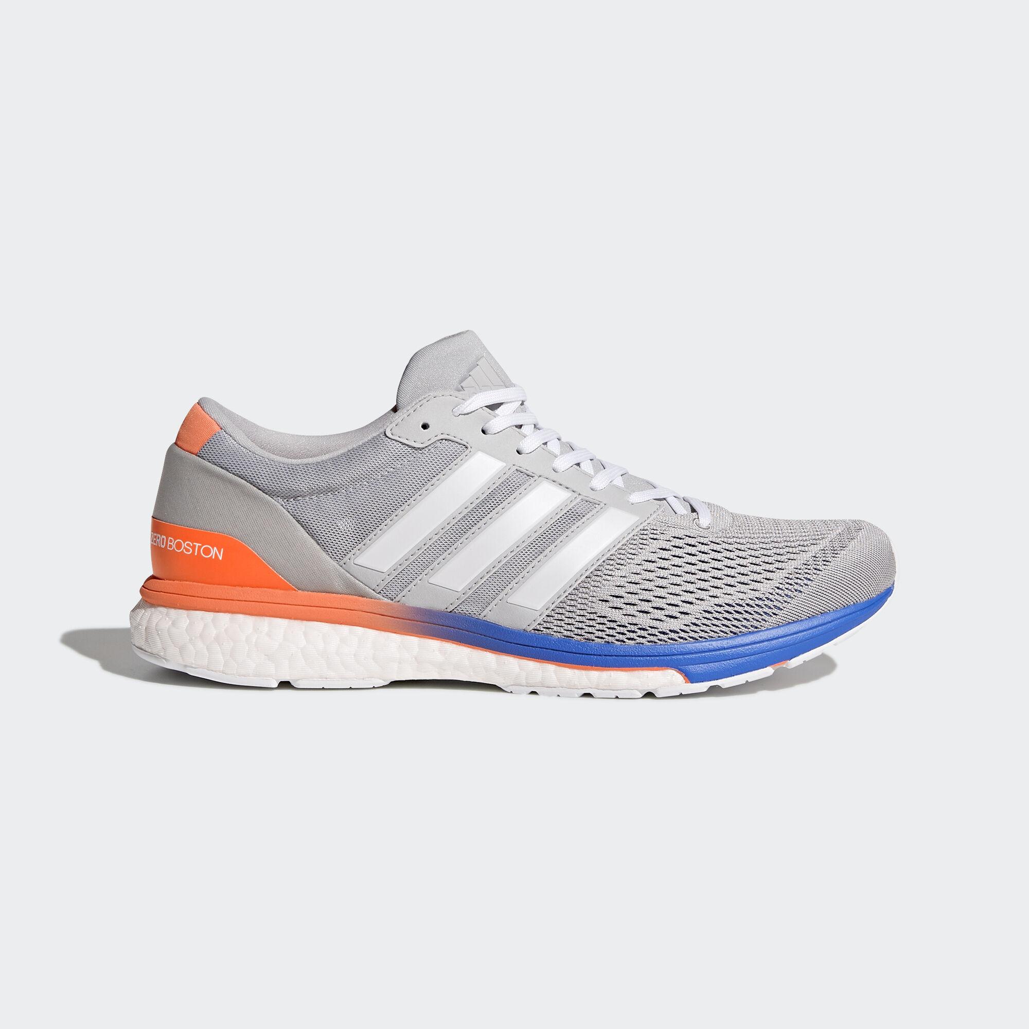 adidas - adizero Boston 6 Shoes Grey Two/Ftwr White/Hi-Res Blue. Men Running