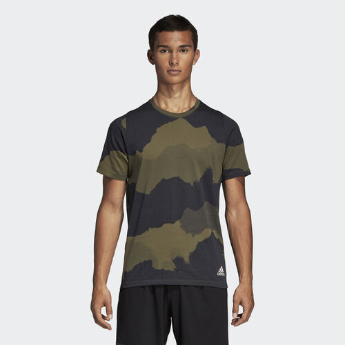 adidas - FreeLift Tech Camouflage Graphic Tee Green / Legend Ink DU0907