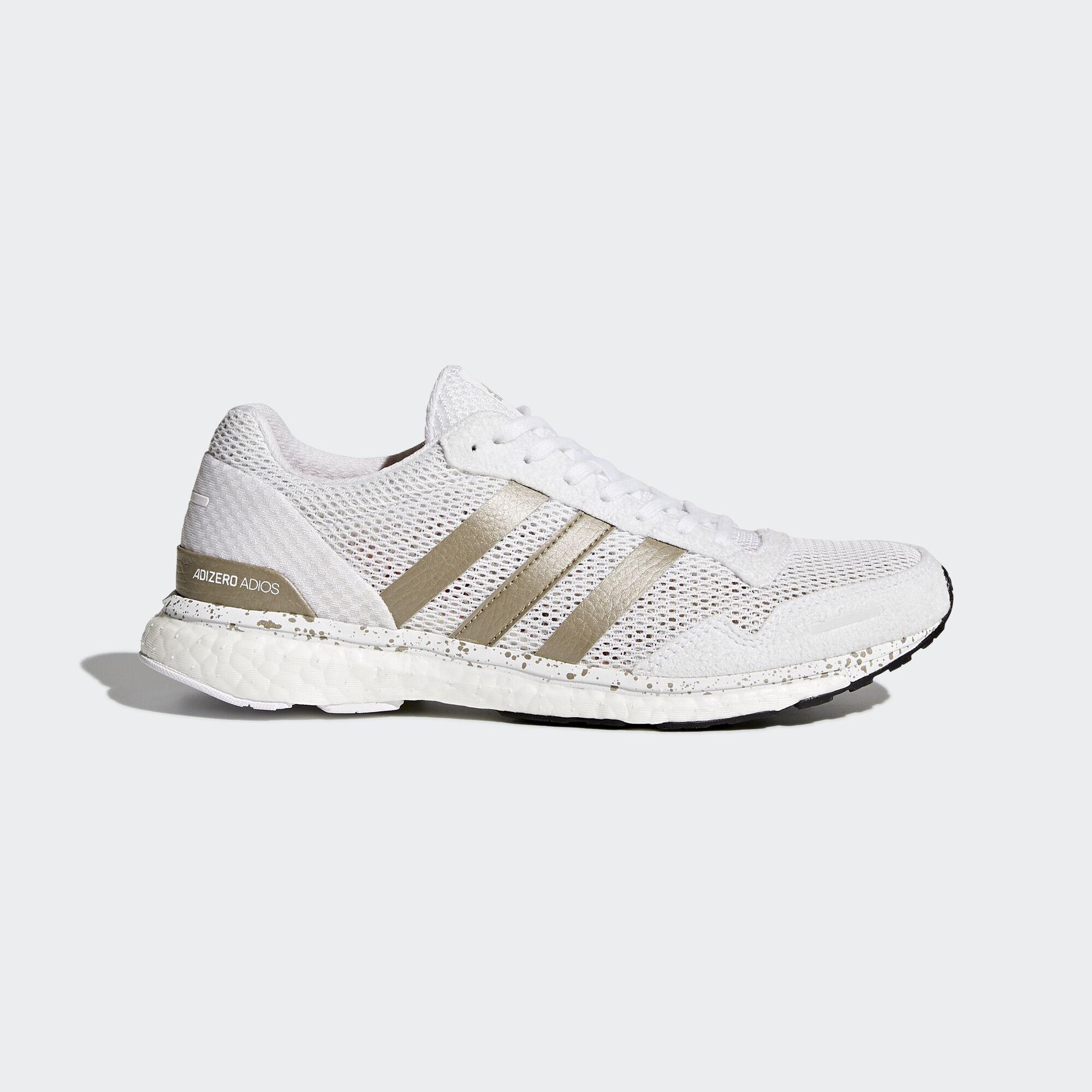 adidas - adizero Adios 3 Shoes Ftwr White/Cyber Metallic/Core Black BB6409.  Women Running