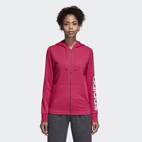 adidas - Essentials Linear Full Zip Hoodie Real Magenta / White CZ5718