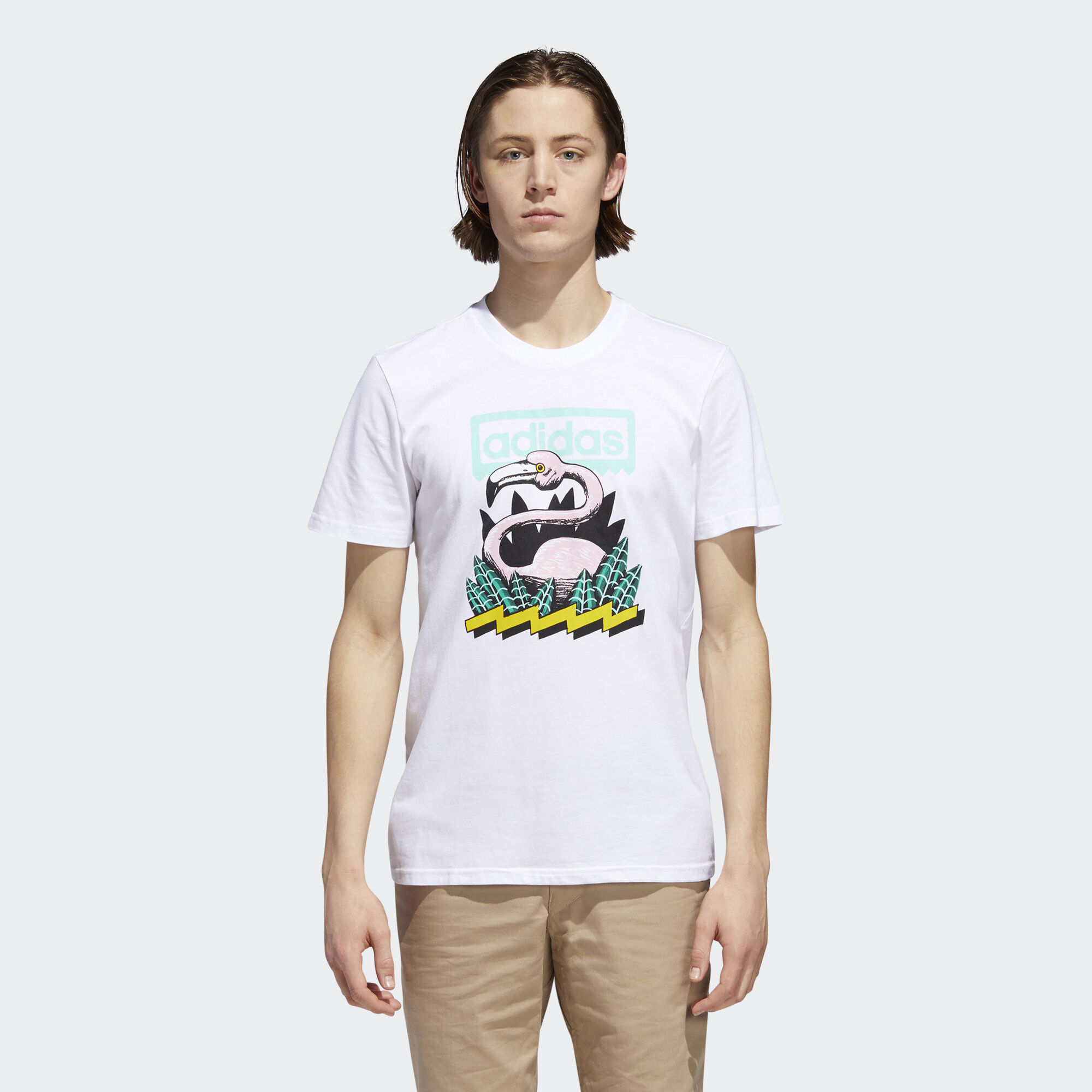 adidas - Wading Tee White/Easy Green/Black/Tech Forest CF5840