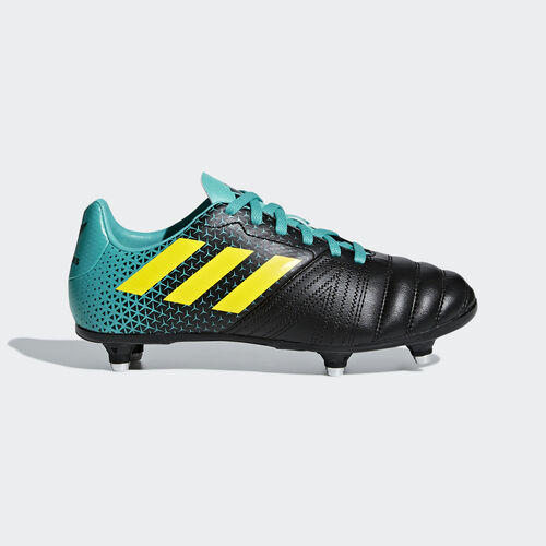 adidas - Bota de rugby All Blacks Junior césped natural húmedo Hi-Res Aqua / Shock Yellow / Core Black AC7721