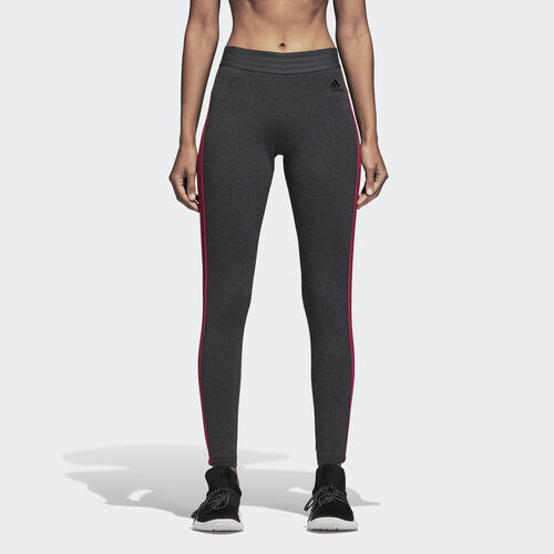 adidas - Essentials 3 Stripes Tights Dark Grey Heather / Real Magenta CZ5762